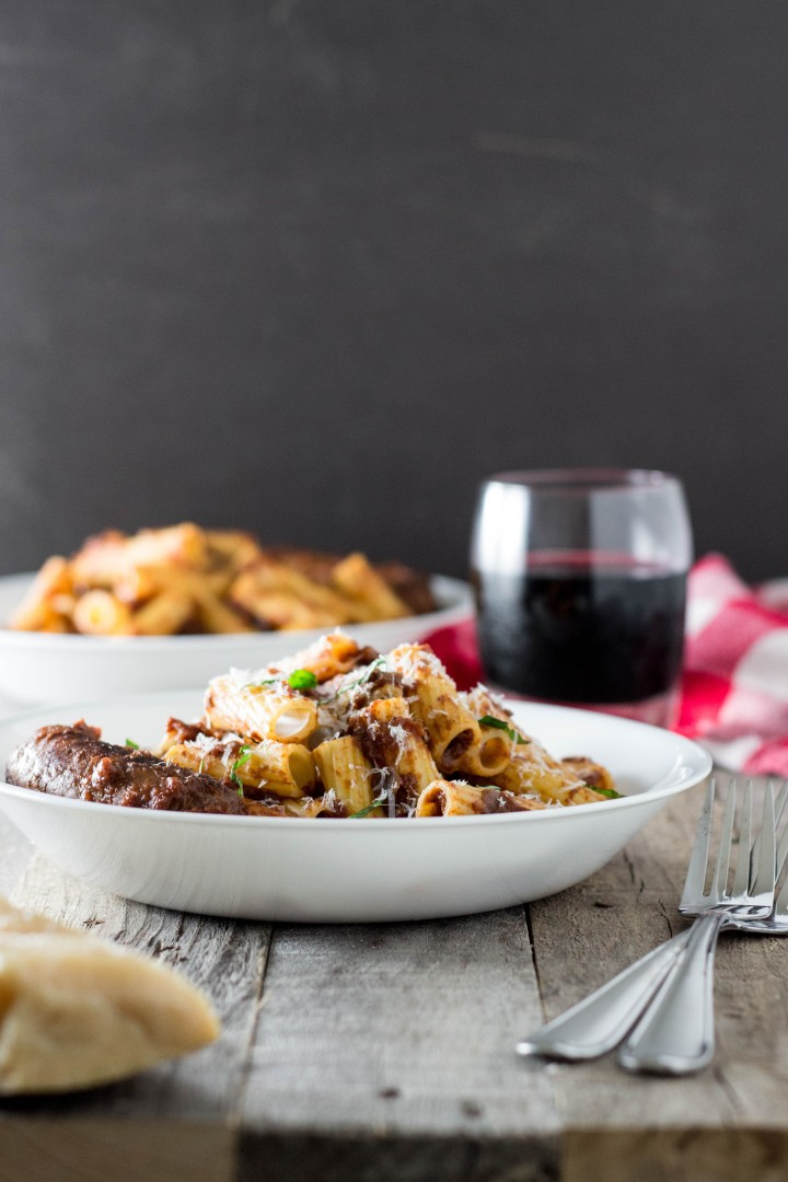 Rigatoni with Braised Sausage in Red Wine-Tomato Sauce