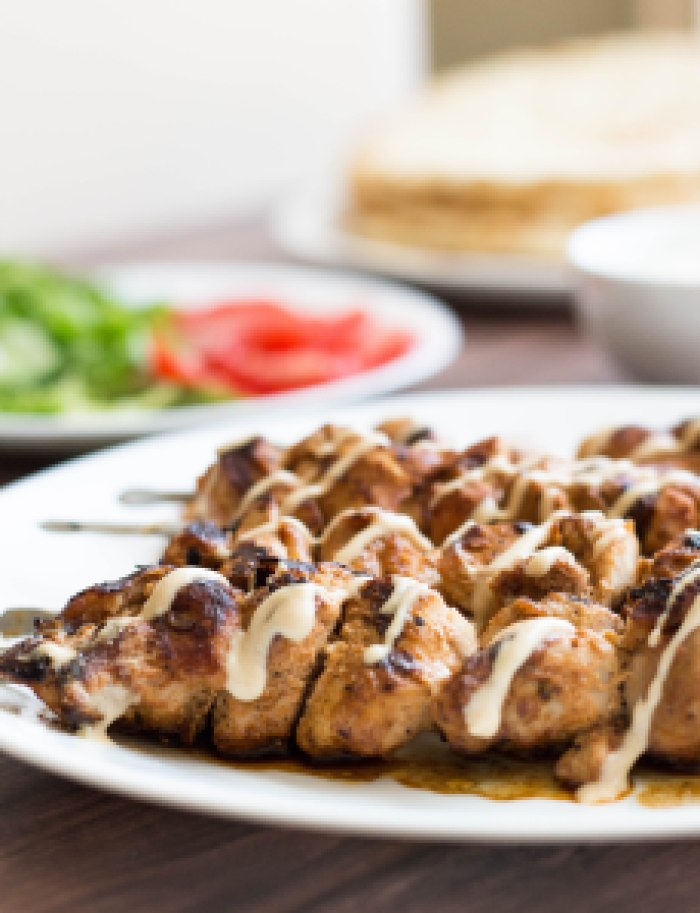 Spiced Chicken Kebabs with Tahini Sauce