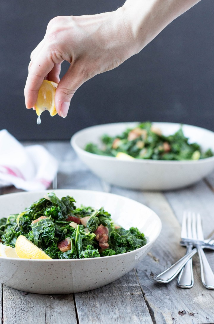 Kale with Bacon & Onions