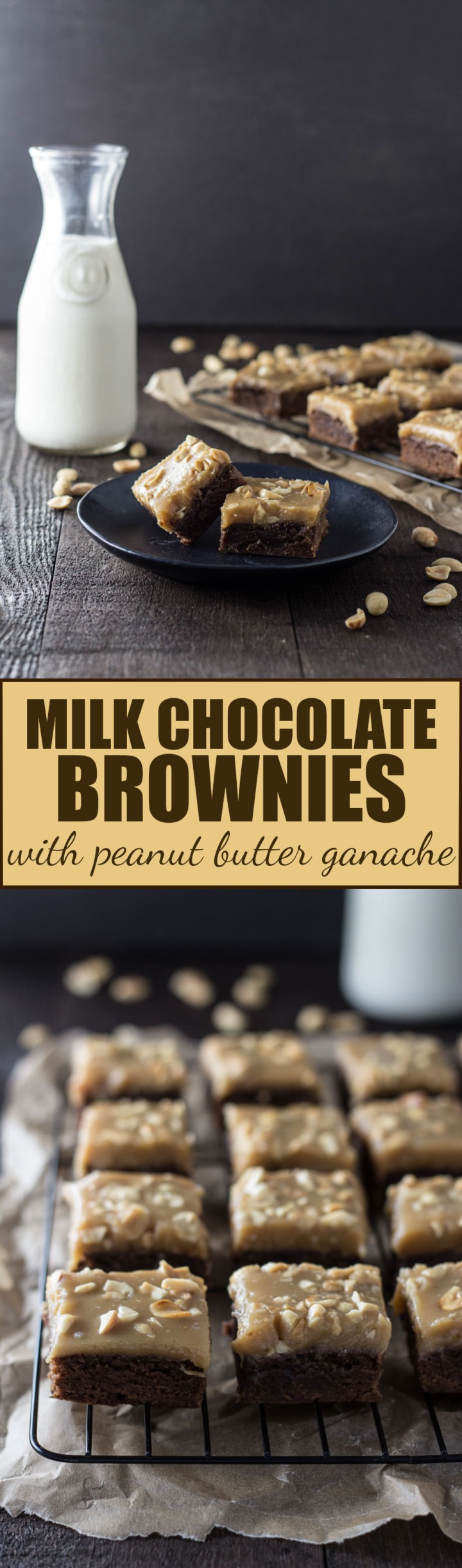 Milk Chocolate Brownies with Peanut Butter Ganache