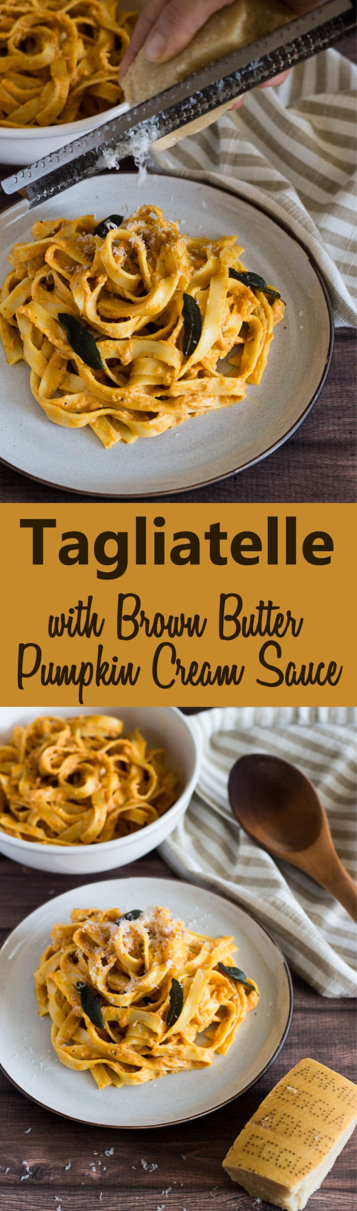 Tagliatelle with Brown Butter Pumpkin Cream Sauce and Fried Sage #pasta #pumpkin #vegetarian #cheese