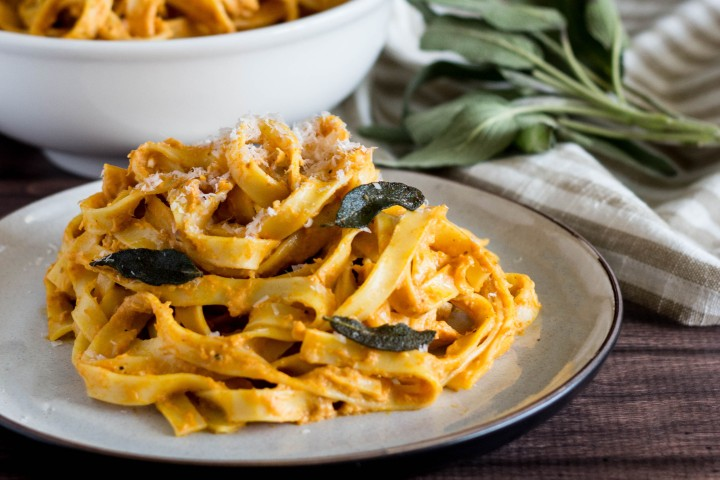 Tagliatelle with Brown Butter Pumpkin Cream Sauce and Fried Sage