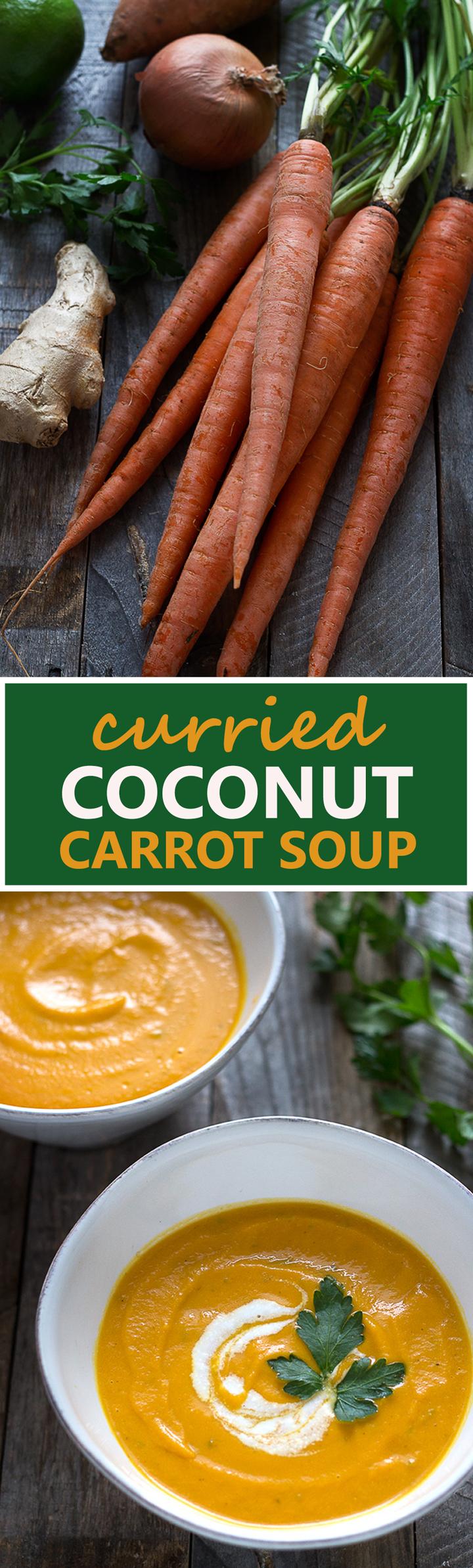 Vegan Curried Coconut-Carrot Soup| cookingatsabrinas.com @sabrinascooking