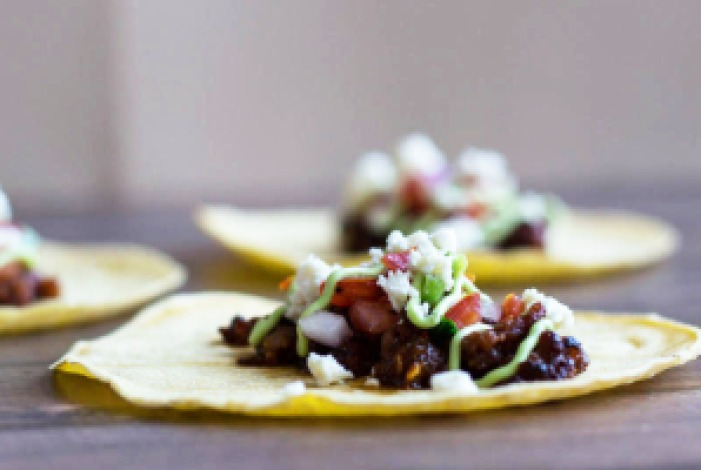 Chorizo Tacos with Pico de Gallo and Avocado Crema