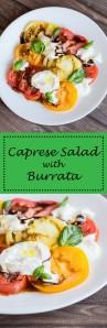 The BEST Caprese Salad. Sweet, heirloom tomatoes,creamy burrata cheese, balsamic syrup, EVOO,basil.