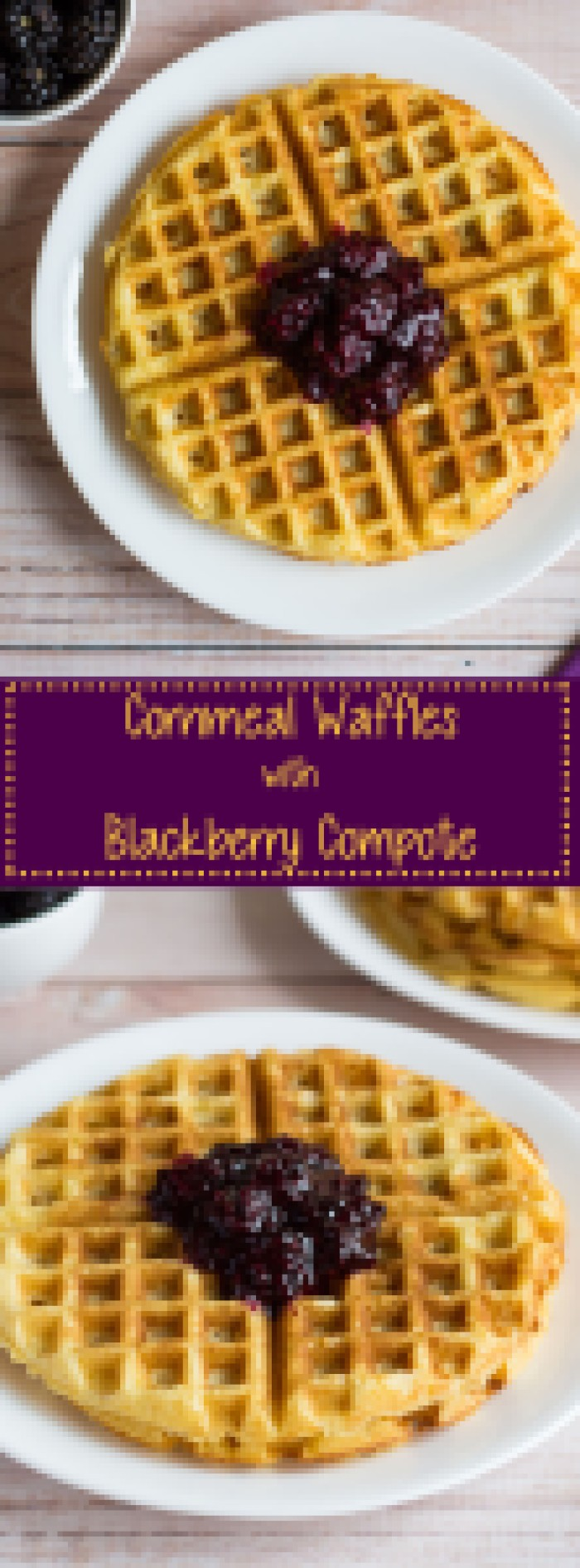 Cornmeal Waffles with Blackberry Compote