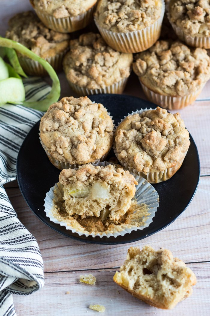 Apple Crumb Muffins with Candied Ginger - Brina's Bites