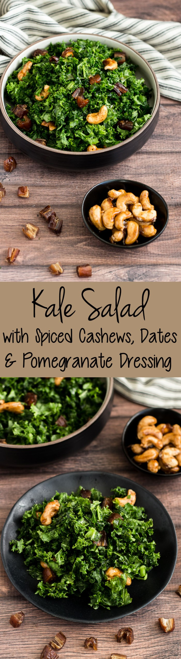 Kale Salad with Spiced Maple Cashews, Dates and Pomegranate Molasses Dressing
