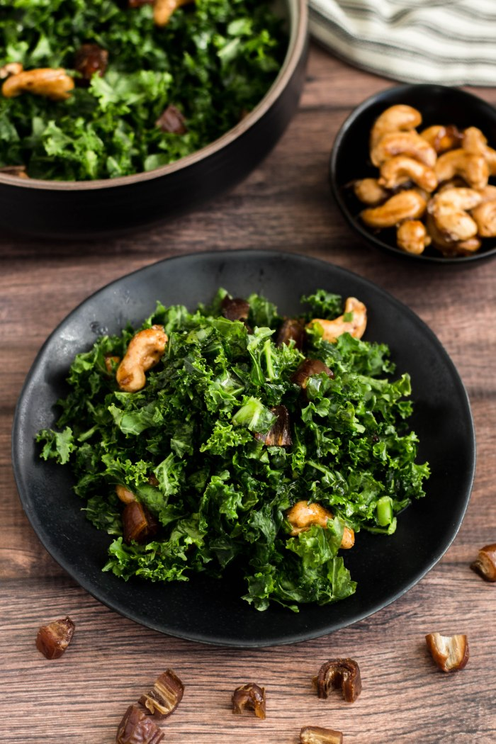 kale salad with dates, retouch 1Kale Salad with Spiced Maple Cashews, Dates and Pomegranate Molasses Dressing