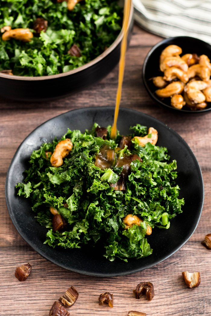 Kale Salad with Spiced Maple Cashews, Date and Pomegranate Molasses Dressing