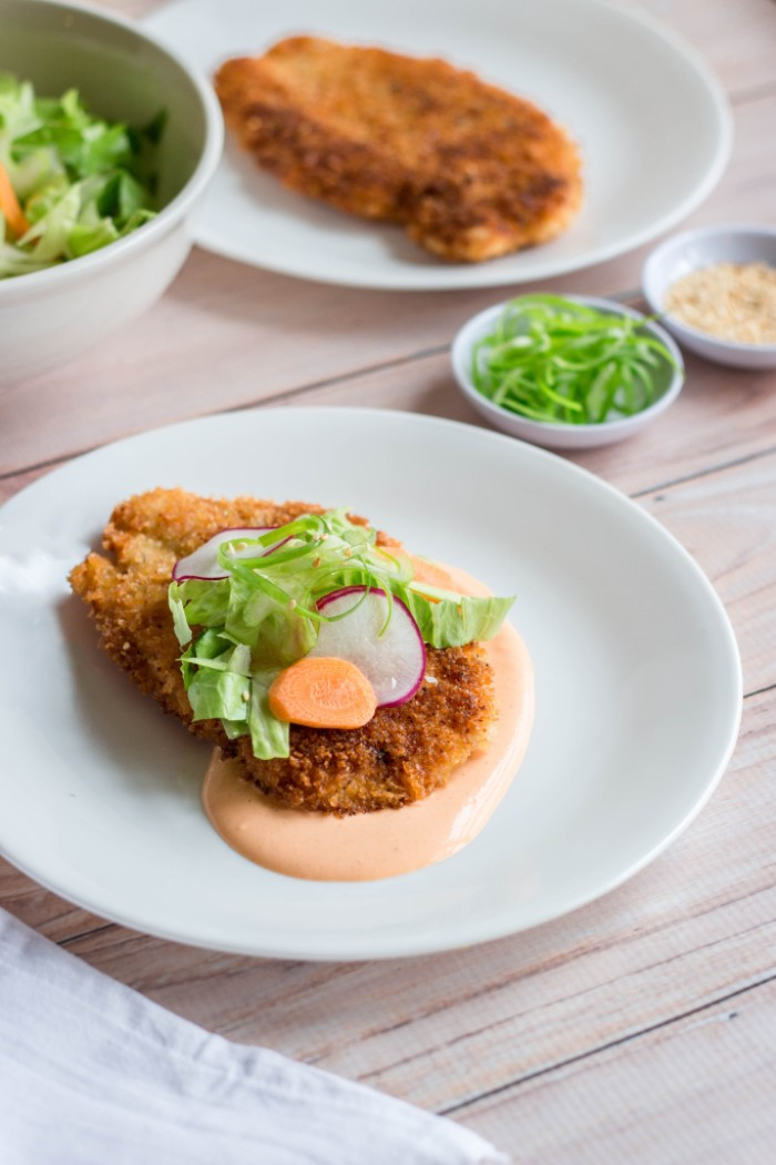 Togarashi Chicken Cutlet with Sriracha Mayo