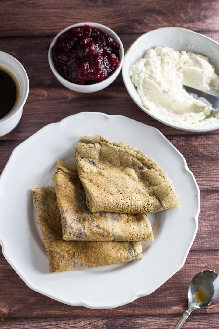 Buckwheat Crepes with Honey Ricotta & Spiced Cranberry Sauce