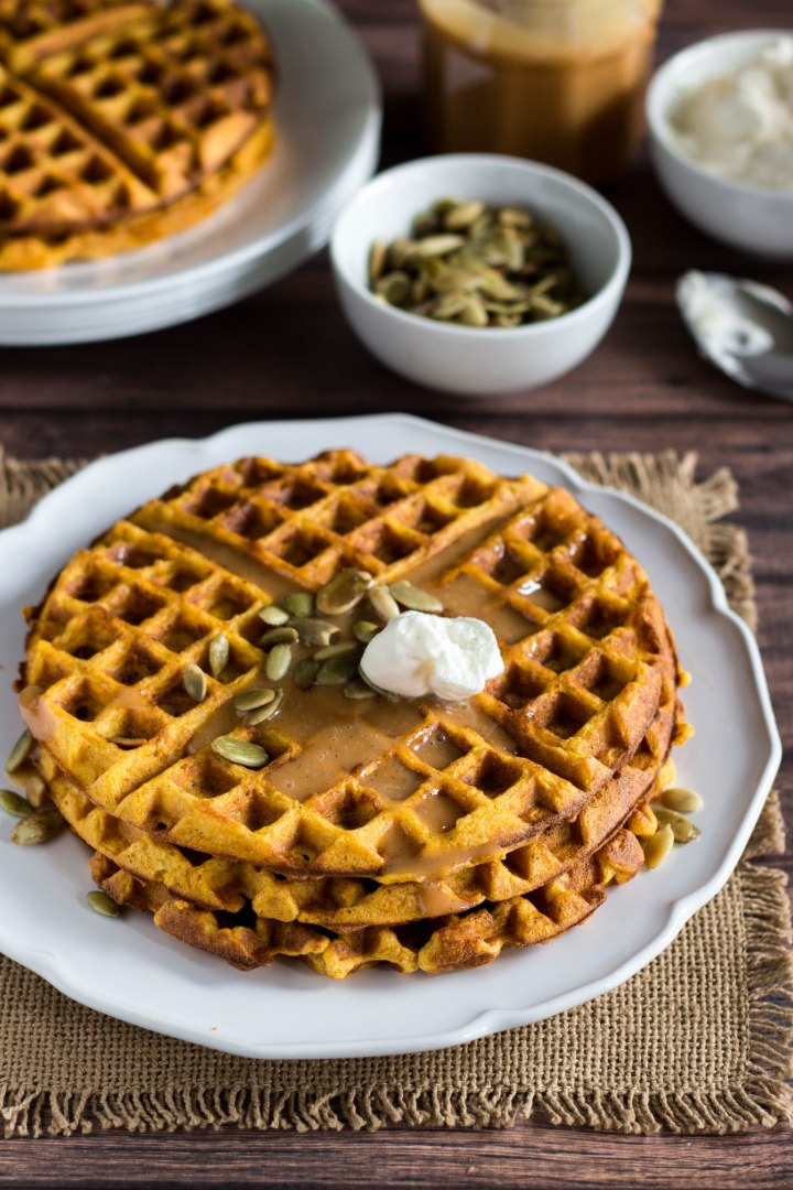 Pumpkin Waffles with Cajeta Caramel and Pepitas