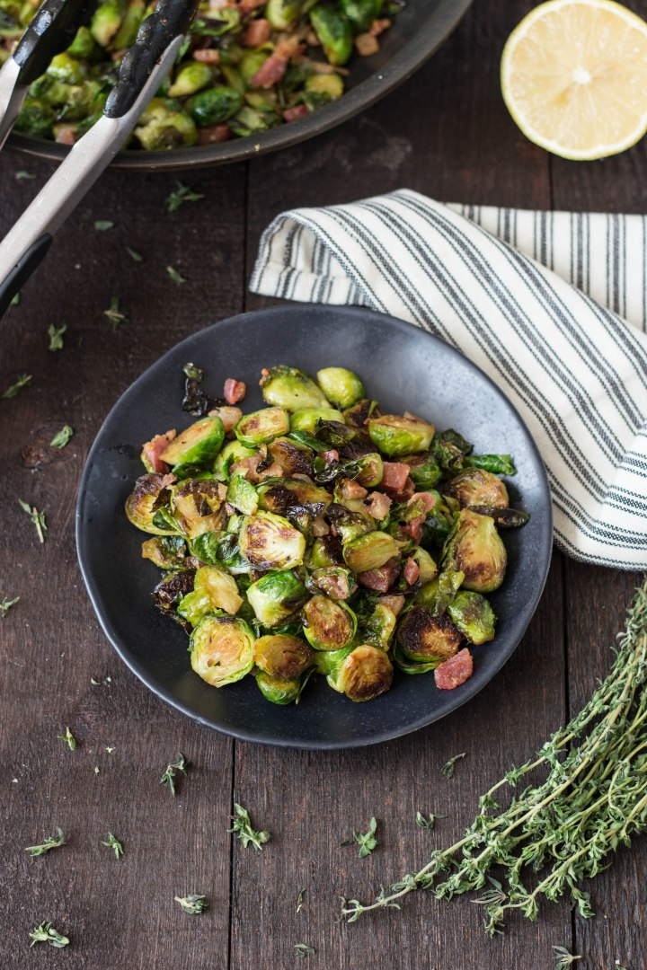 Seared Brussels Sprouts & Pancetta with Thyme & Lemon