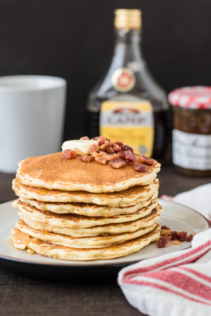 Cornmeal Pancakes with Pancetta & Fig-Maple Syrup