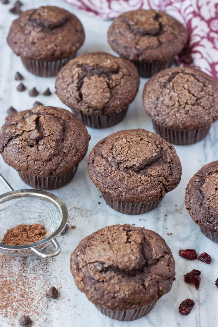 Double Chocolate Chip Cranberry Muffins