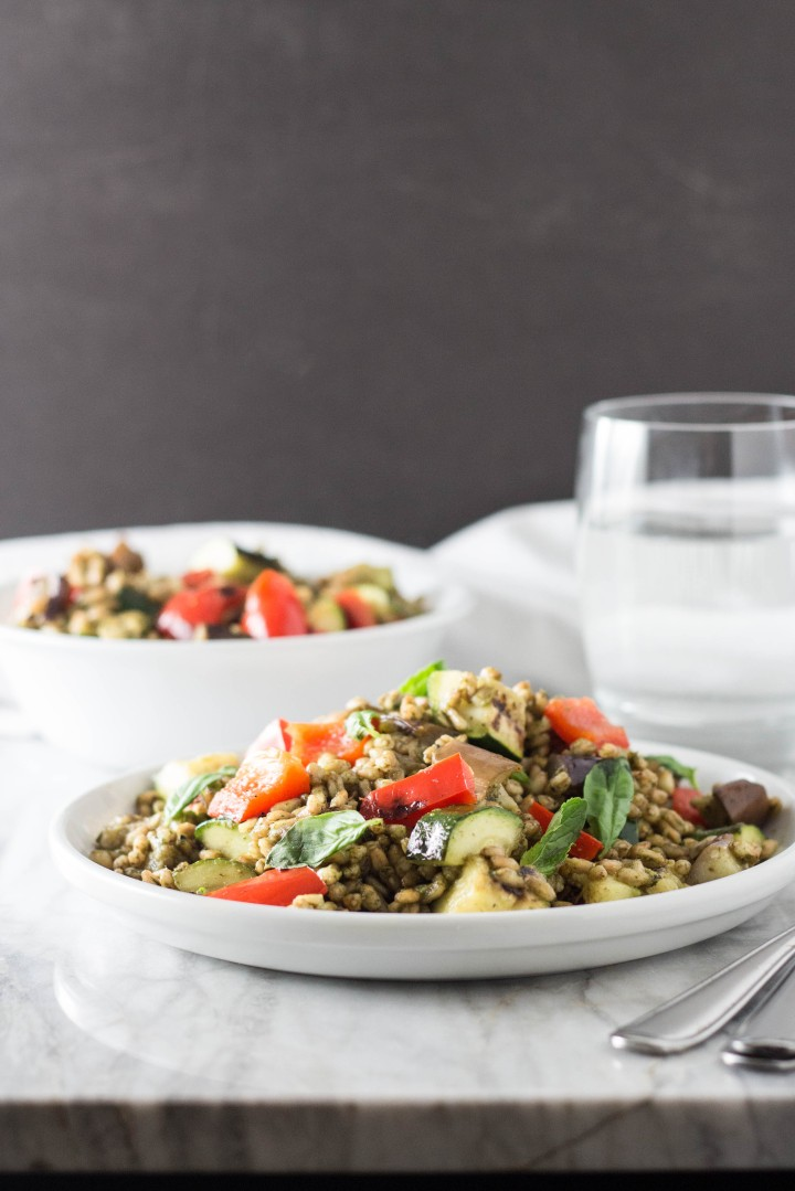 Grilled Vegetable Farro with Basil-Mint Pesto