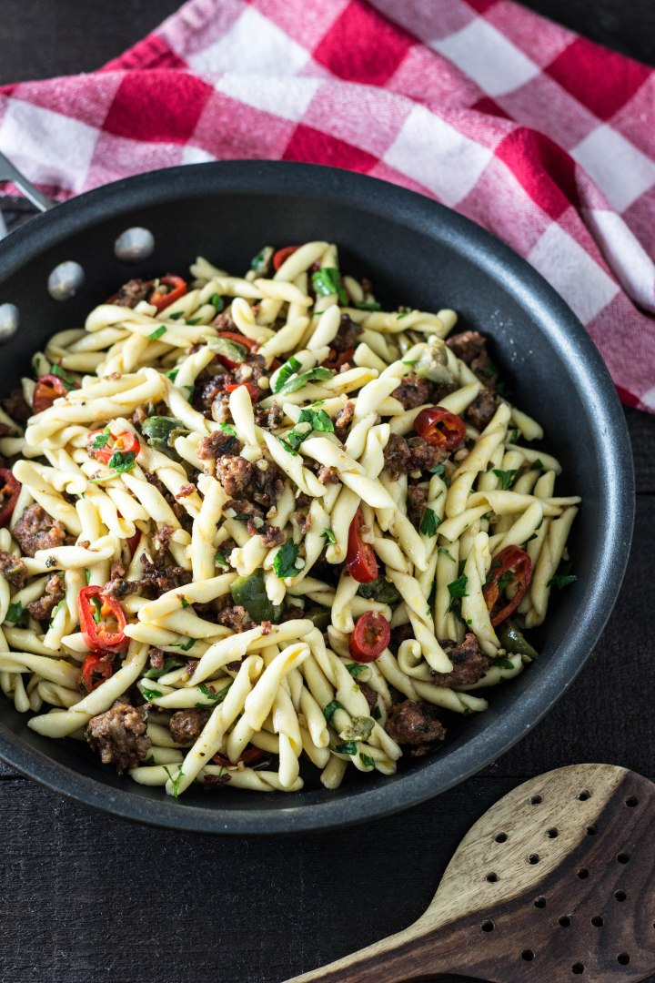 Pasta with Lamb Sausage, Chilies & Olives