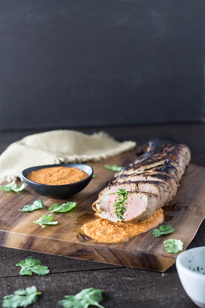 Marinated Pork Tenderloin with Romesco Sauce & Cilantro-Lime Gremolata