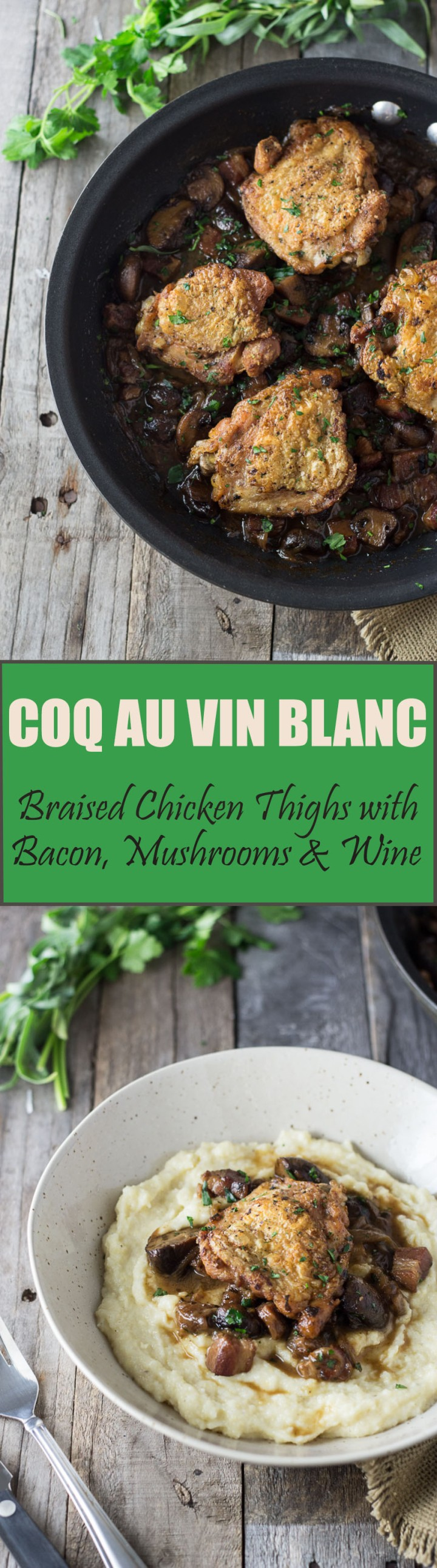 Coq Au Vin Blanc: French Braised Chicken Thighs with White Wine, Bacon & Mushrooms