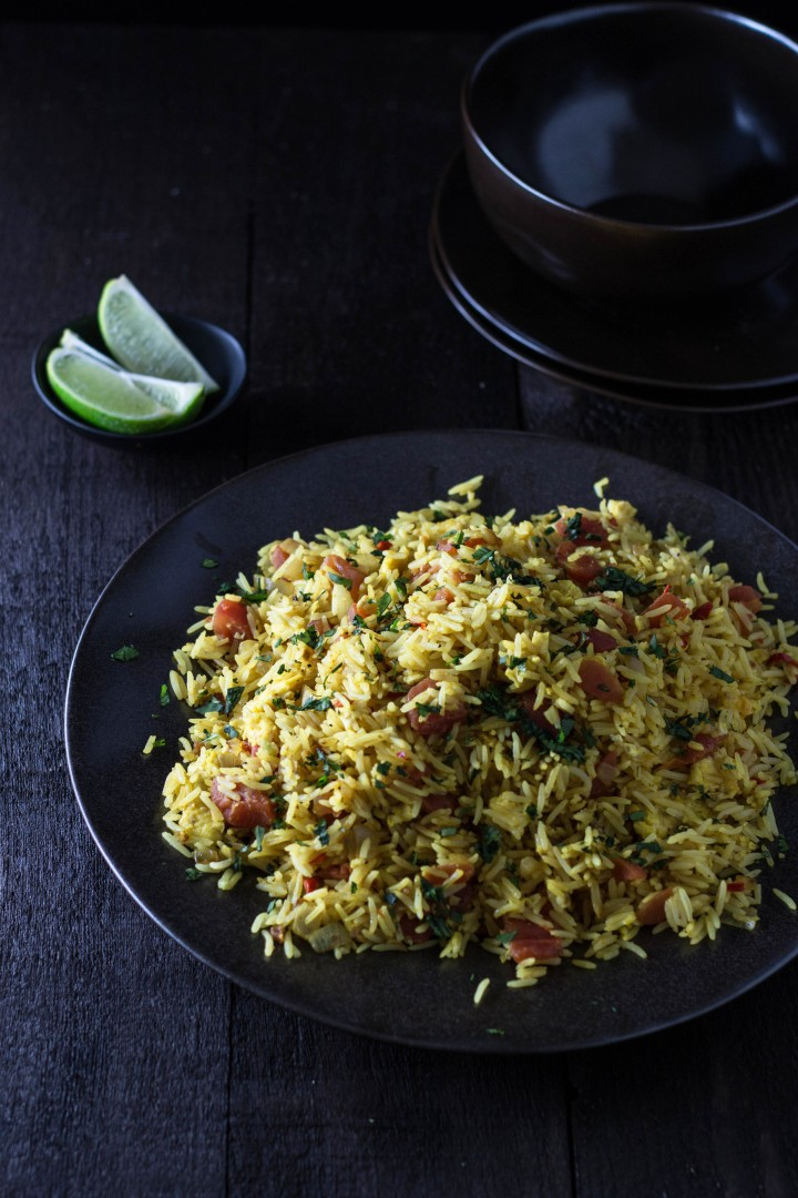Indian-Spiced Fried Rice | cookingatsabrinas.com @sabrinascooking